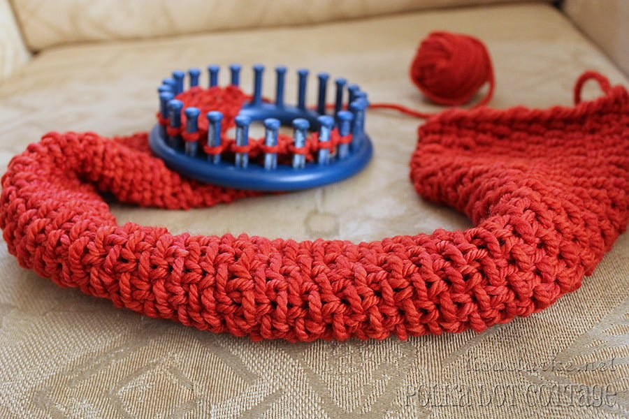 Knit And Purl Stitch On A Loom : Luxurious Loom-Knit Neckwarmer   Polka Dot Cottage