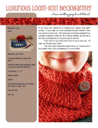 Luxurious Neckwarmer knitting loom pattern at Polka Dot Cottage