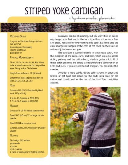 Striped Yoke Cardigan knitting pattern at Polka Dot Cottage