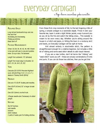 Everyday Cardigan knitting pattern and tutorial from Polka Dot Cottage