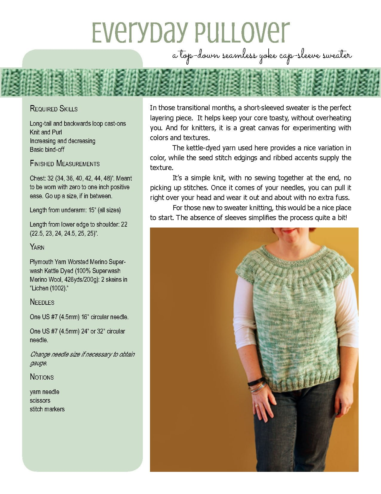 Everyday Pullover knitting pattern at Polka Dot Cottage