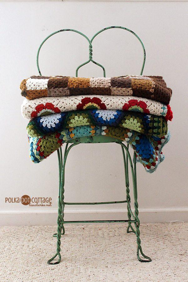 Family crochet blankets, at Polka Dot Cottage