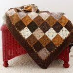 Neutral Squares crochet blanket, at Polka Dot Cottage