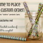 Custom crochet hooks, buttons, pendants, and stick pens at Polka Dot Cottage