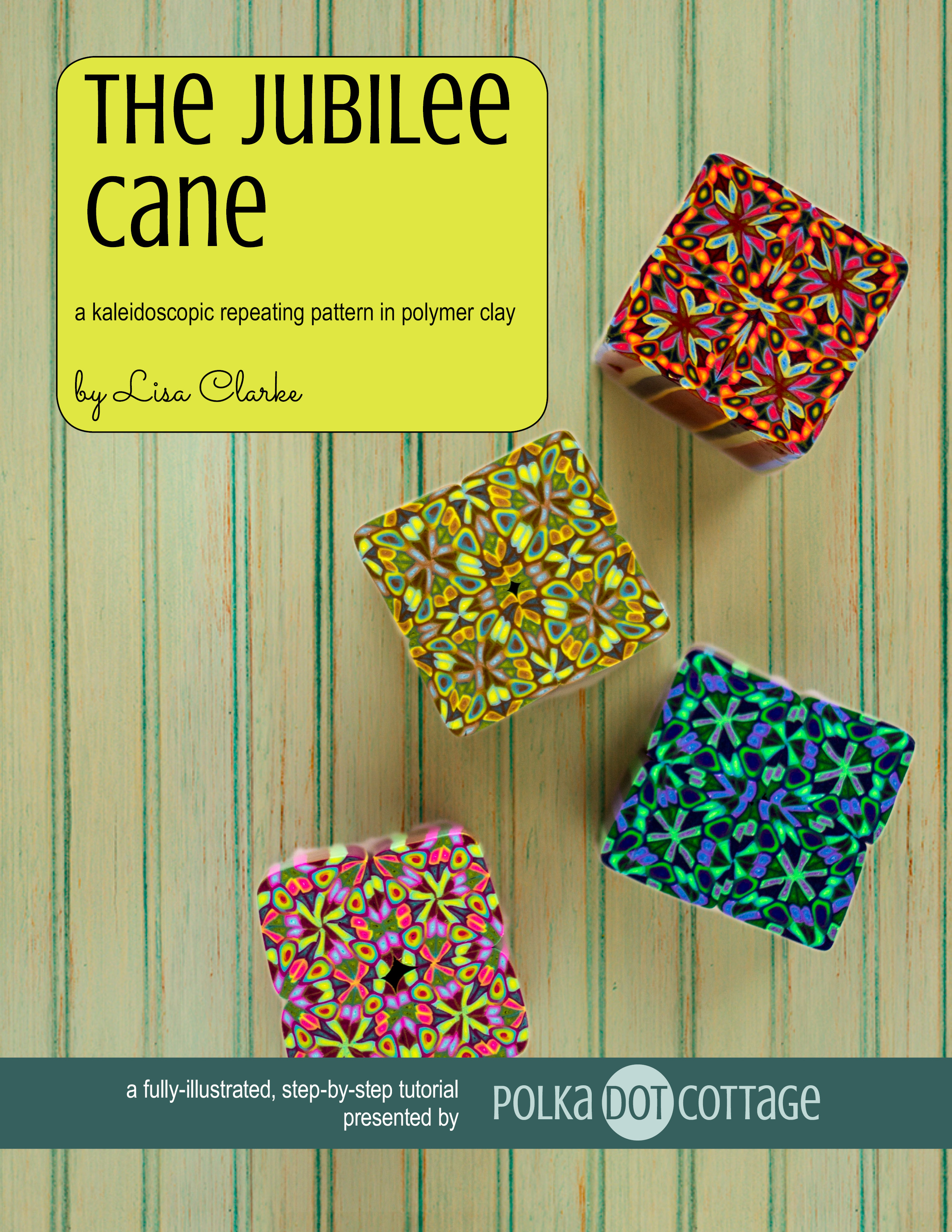 The Jubilee Cane polymer clay tutorial at Polka Dot Cottage