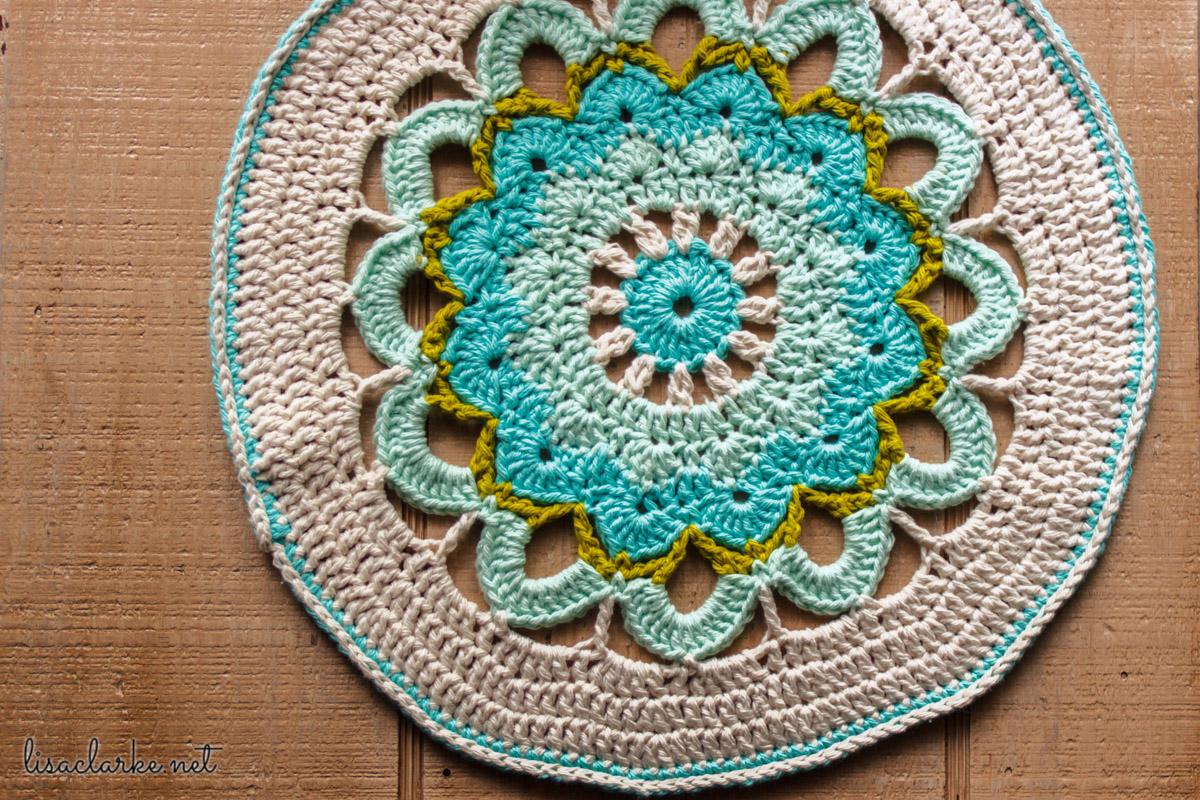 Crocheted mandala at Polka Dot Cottage