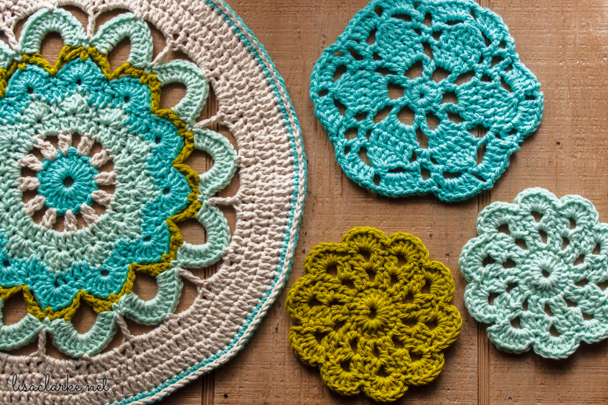 Crocheted mandala and coasters at Polka Dot Cottage