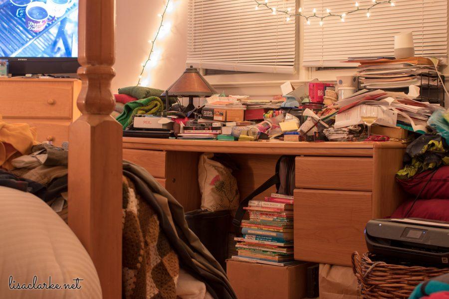 Desk Decluttering: Before