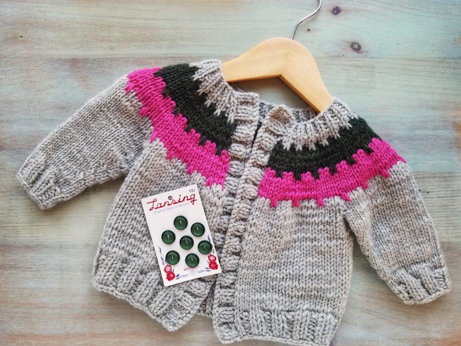 Cogwheel Baby Cardigan Knitting Pattern: Choosing Buttons