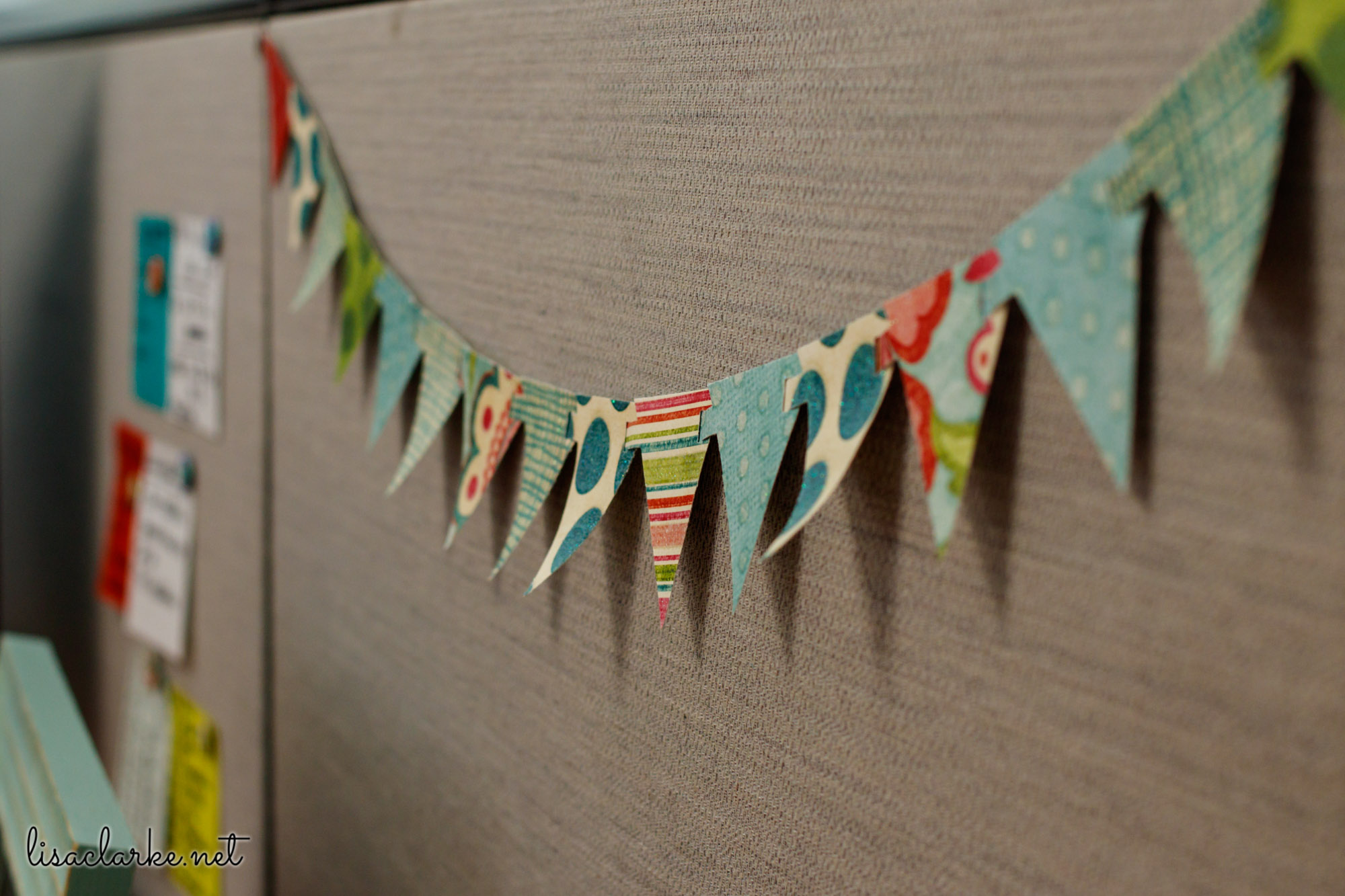 Ways to Make Your Cubicle Less Awful: Tiny Paper Bunting
