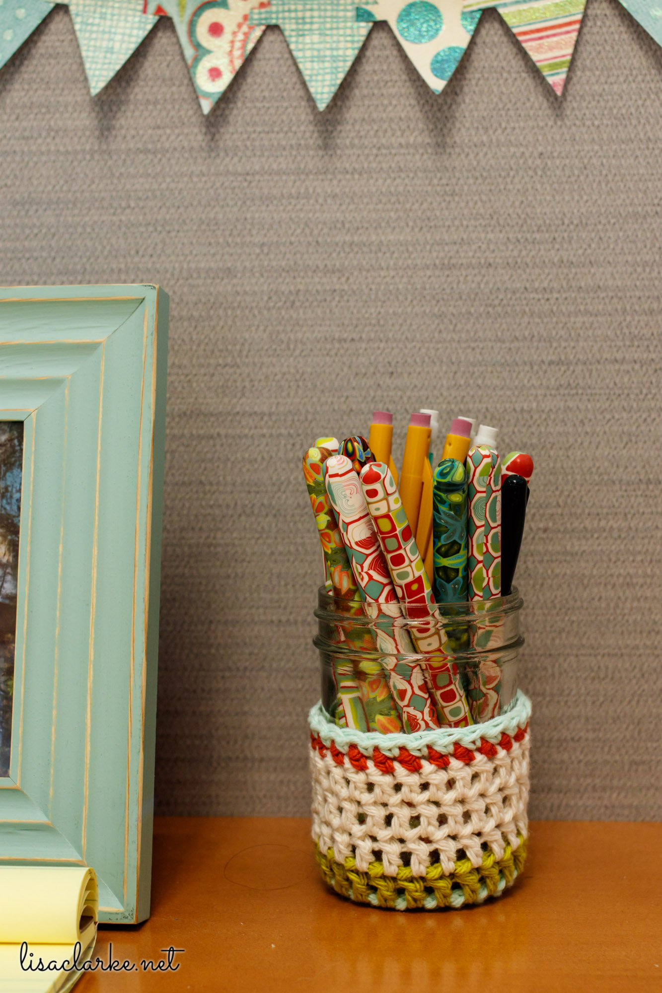Ways to Make Your Cubicle Less Awful: Mason jar Cozy and Polka Dot Cottage Pens