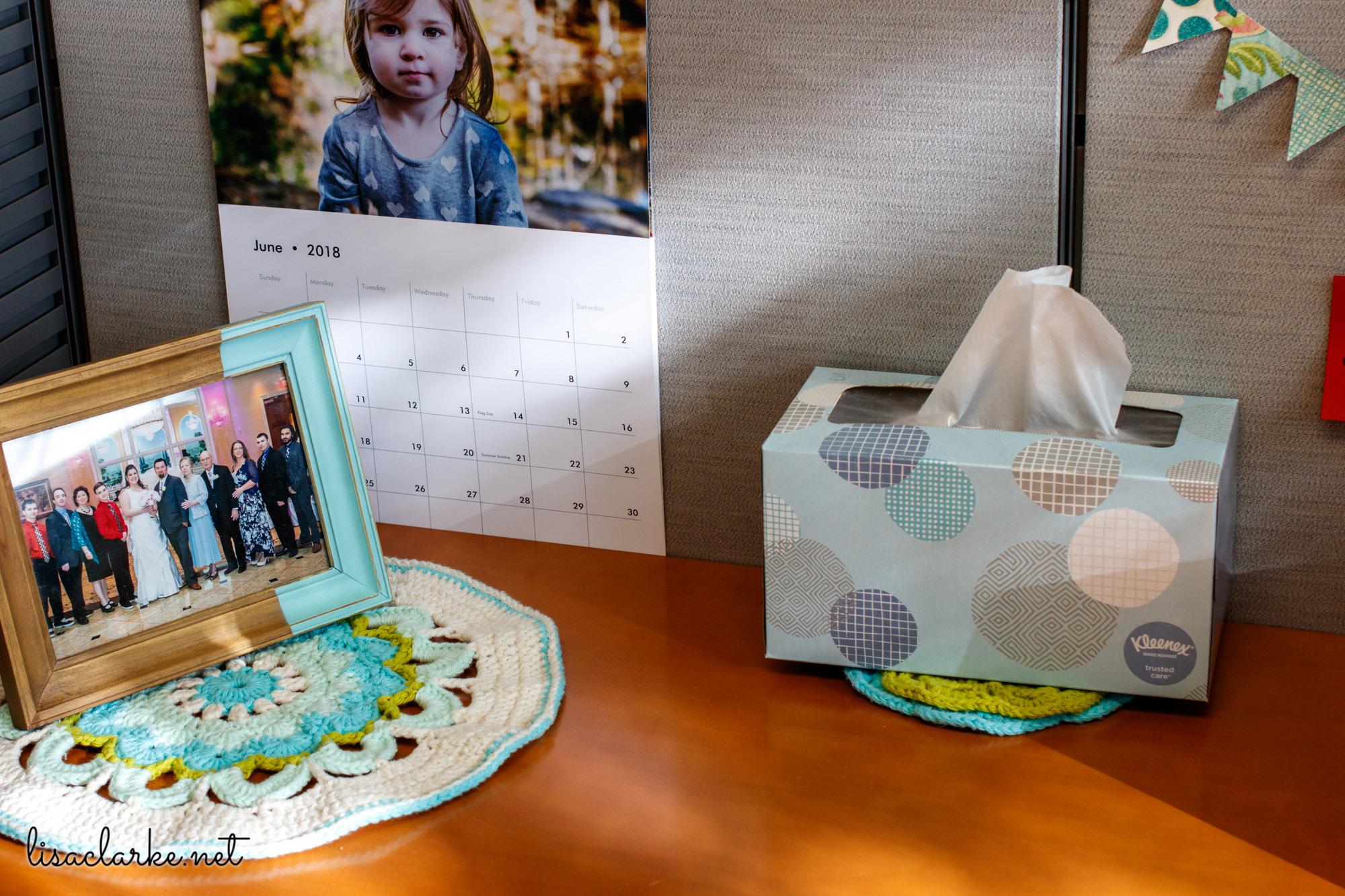 Ways to Make Your Cubicle Less Awful: Crochet Mandalas and Custom Calendar