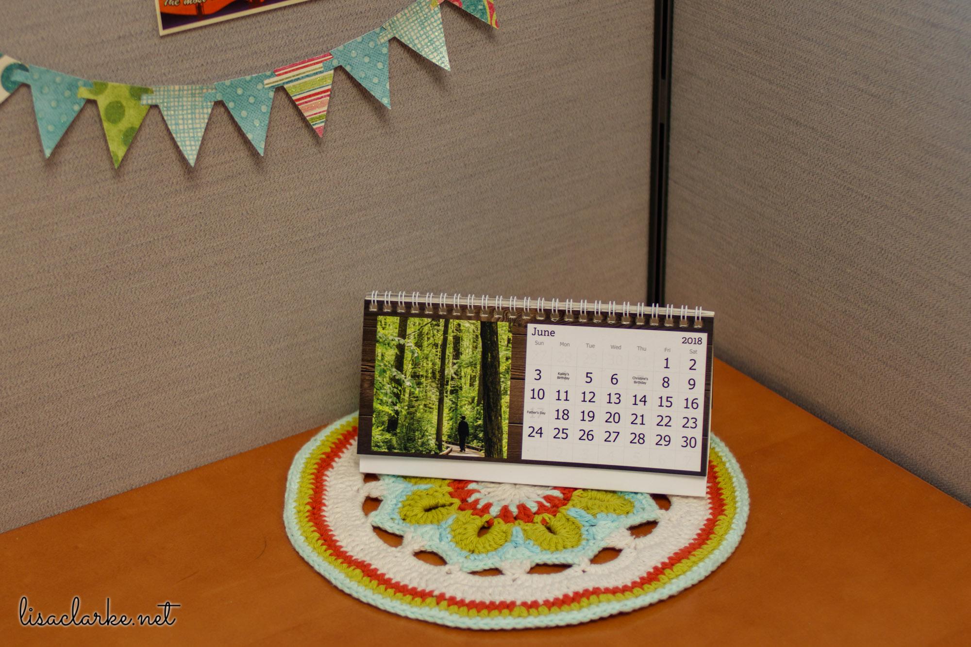 Ways to Make Your Cubicle Less Awful: Mandala and Custom Desk Calendar