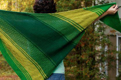 The Taryn Shawl Knitting Pattern by Lisa Clarke, Green Version Unfurled