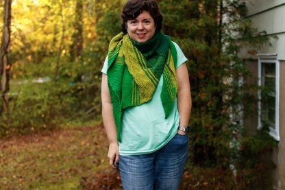 The Taryn Shawl Knitting Pattern by Lisa Clarke, Green Version Worn as a Scarf