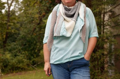 The Taryn Shawl Knitting Pattern by Lisa Clarke, Neutral Version Worn as a Scarf