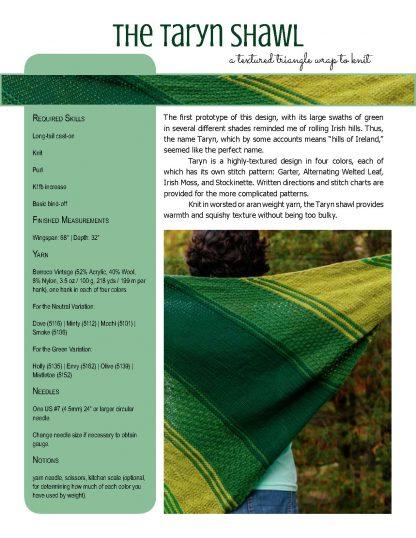 The Taryn Shawl Knitting Pattern by Lisa Clarke, First Page