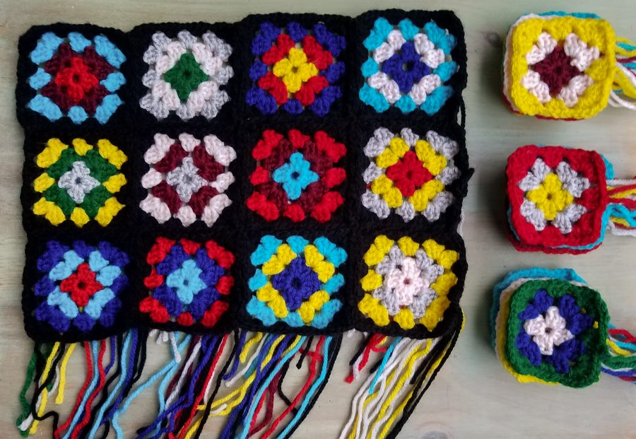 Granny Squares on a Black Background