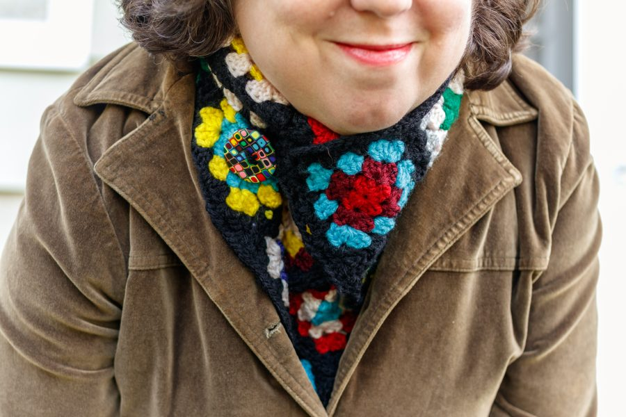 Me Wearing My Vintage-Inspired Granny Square Scarf