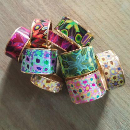 Polka Dot Cottage Channel Rings in a Pile