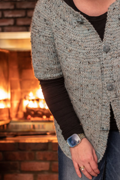 Fireside Cardigan Knitting Pattern, Short Sleeve Version
