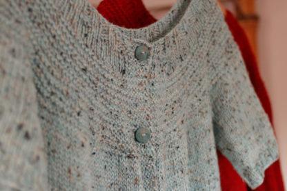Fireside Cardigan Knitting Pattern, Yoke Closeup