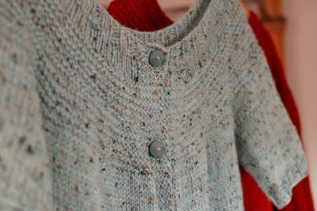 Fireside Cardigan Knitting Pattern, Yoke Closeup